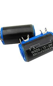 WXD3-13 33K Ohm 2W 4 Pins Rotatable 10 Turn Wire Wound Potentiometer  2 Piece