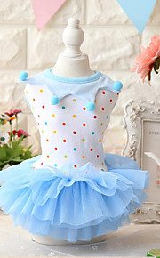Dog Dress Dog Clothes Casual/Daily Fashion Polka Dots Blue Blushing Pink