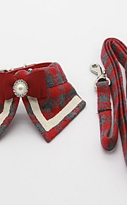 Collar Leash Foldable Adjustable Plaid/Check Fabric