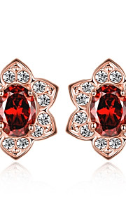 Dame Stangøreringe Kvadratisk ZirconiumEnkelt design Unikt design Tatovering Blomster Natur Geometrisk Venskab Håndlavet To-tonet Tyrkisk