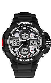 SANDA 남성용 스포츠 시계 밀리터리 시계 스마트 시계 패션 시계 손목 시계 일본어 디지털 LED 듀얼 타임 존 피트니스 트렉커 야광 실리콘 밴드 멋진 블랙 화이트 브라운 그린