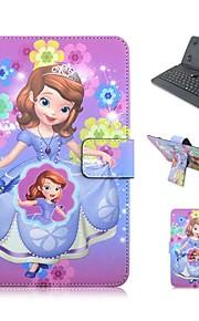 ipad 케이스 키보드 usb 영어 버전 ipad mini123 mini4에 대 한 7-8 인치 범용 만화 pu 가죽 케이스