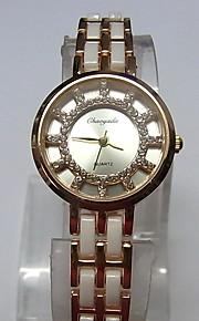 Жен. Женские Модные часы Часы-браслет Кварцевый сплав Группа Блестящие Повседневная Белый Розовое золото