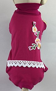 Gato Cachorro Camiseta Macacão Pijamas Calças Roupas para Cães Casual Floral / Botânico Rosa Verde