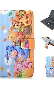 ipad 케이스 키보드 usb 영어 버전 ipad mini123 mini4에 대 한 7-8 인치 보편적 인 만화 pu 가죽 케이스