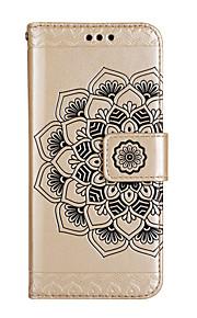 Caso per la mela iphone 7 7 più caso copertura di metà fiore modello lucido goffrato pu cassa del telefono della carta dello stent della