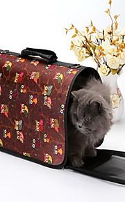 Gato Cachorro Tranportadoras e Malas Animais de Estimação Transportadores Portátil Respirável Riscas Desenho Animado CorujasAzul Rosa