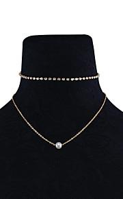 Dame Kort halskæde Halskæder med flere lag Rhinsten Obsidian Imiteret Perle Multi-bæremåder beklædning Euro-Amerikansk Mode Personaliseret