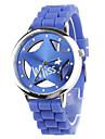Hollow Out Star Pattern Design Unisex Quartz Wrist Watch with Crystal Decoration - Blue