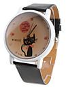 Women\'s Cartoon Cat Pattern Black PU Band Quartz Analog Wrist Watch
