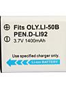 1400mAh pile pour appareil photo li-50b/d-li92 pour Olympus U1010, u1020, u1030