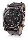 V6® Men\'s Military Style Black Case PU Band Quartz Wrist Watch Cool Watch Unique Watch