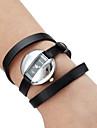 Женские аналоговые кварцевые наручные часы-браслет с ремешком из кожзама (черные)