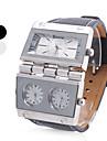 Men's  PU Analog Quartz Wrist Watch (3 Time Zone, Assorted Colors) Cool Watch Unique Watch