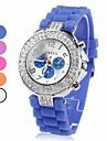 Women\'s Diamand Case Silicone Band Quartz Analog Wrist Watch (Assorted Colors)