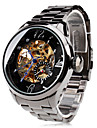 Men's Auto-Mechanical Hollow Dial Black Steel Band Wrist Watch Cool Watch Unique Watch