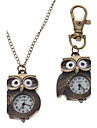 Unisex Owl stil Alloy Analog Quartz noekkelring Necklace Watch (bronse)