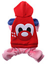 Dog Hoodie Red Dog Clothes Winter Cartoon