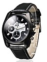 Men's Business Style Black Dial PU Leather Band Quartz Wrist Watch Cool Watch Unique Watch
