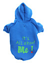Dog Hoodie Blue Dog Clothes Winter Letter & Number