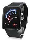 Men\'s Watch Digital 29 LED Red & Blue Light Black Silicone Strap