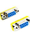DE9 serial RS-232 fêmea 9 pinos para Adaptador Feminino (Silver & Amarelo, 2 PCS)