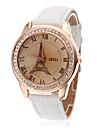 Women\'s Eiffel Tower Style PU Analog Quartz Wrist Watch (White)