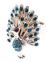 Statement Rings Simulated Diamond Alloy Peacock Blue Golden Jewelry Daily 1pc
