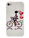 Meisje op de Transparent Case Bicycle Patroon Frame PC voor iPhone 4/4S