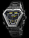 WEIDE® Brand Men\'s Dual Time Analog-Digital LED Display Black Steel Band Luxury Wrist Watch Cool Watch Unique Watch