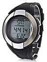 Unisex Heart Rate Monitor Silver Frame Black Silicone Band Digital Wrist Watch with Calorie Counter
