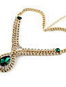 Vintage Gold Plated Alloy Zircon Waterdrop Pattern Necklace(Aorted Color)