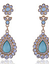 European Style Vintage Full Of Crystals Water Drop Shape Gold Plating Earrings
