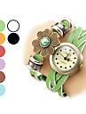 Women\'s Flower Pattern Leather Analog Quartz Bracelet Watch (Assorted Colors)
