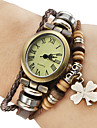 Women\'s Vintage Style Four Leaf Clover Pendant Brown Leather Band Quartz Bracelet Watch