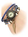 여자의 가죽 아날로그 석영 손목 시계 (오렌지 밴드)