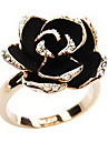 Ring Flower Daily Jewelry Alloy Women Statement Rings 1pc,Adjustable Black