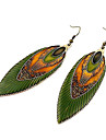 Enamel ethnic bohemian peacock feather metal earrings E387