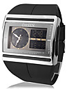 Mænds Multi-Function analog-digital Steel Square Dial PU Band armbåndsur