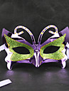 Green&Purple Masquerade Butterfly Retro Halloween Mask with Rhinestone Blue Ribbon