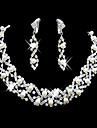 eruner®wedding strass colar ajustável& conjunto de jóias brincos