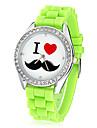 Women\'s Mustache Pattern Diamante Dial Silicone Band Quartz Analog Wrist Watch (Assorted Colors)