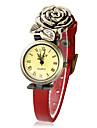 Women\'s Vintage Dial Rose Style PU Band Quartz Analog Bracelet Watch (Assorted Colors)