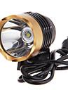 Front Bike Light 3-Mode Cree XM-L T6 LED Bicycle Flashlight/Headlamp (1000LM, 4x18650, Black+Gold)