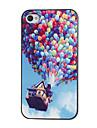 Воздушные шары красочным узором ПК Футляр с черной рамкой для iPhone 4/4S