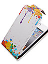 Olieverf Up-Down Turn Over PU Leather Volledige Bady hoesje voor iPhone 4/4S