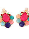 Water-Drop Gem Multicolor Stud Earrings(Assorted Color)