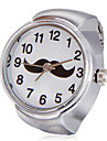 Patron Bigote blanco unisex Dial cuarzo de la aleacion del anillo del reloj analogo