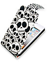 Skull Pattern Up-Down Turn Over PU Leather Full Bady Case for iPhone 4/4S