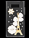 Fashion Rhinestones 3D Deluxe White Flowers and Eiffel Tower Design Transparent Hard Back Case for LG L7